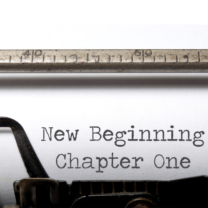 Words on typewriter - New beginnings chapter one